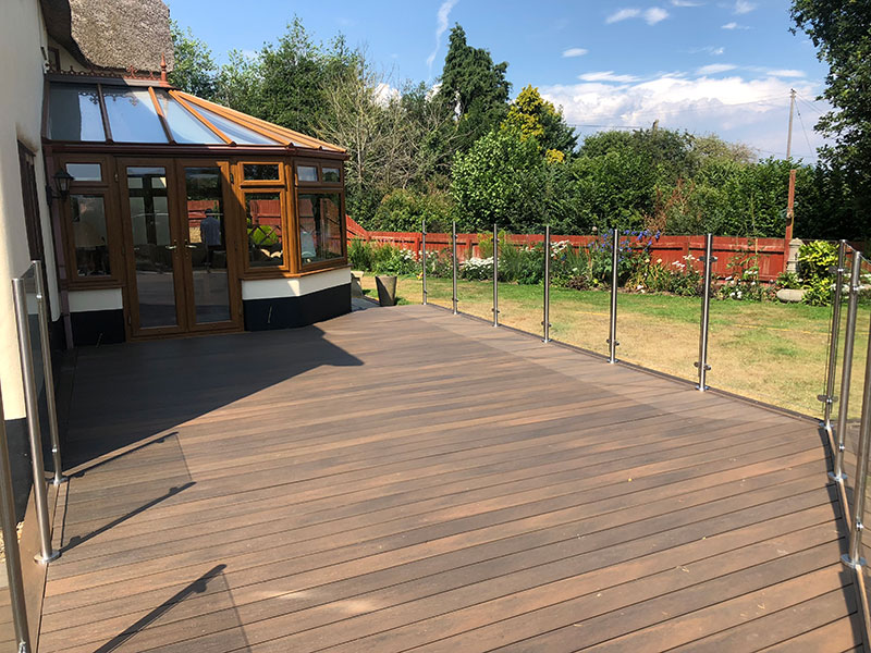 Composite decking with glass balustrades